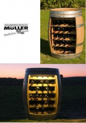 Weinfassregal aus Barriquefass für 30 Weinflaschen