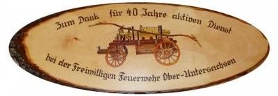 Ehrenscheibe aus Erle massiv, mit Motiv. &#150,Feuerwehr, Art-Nr. E1