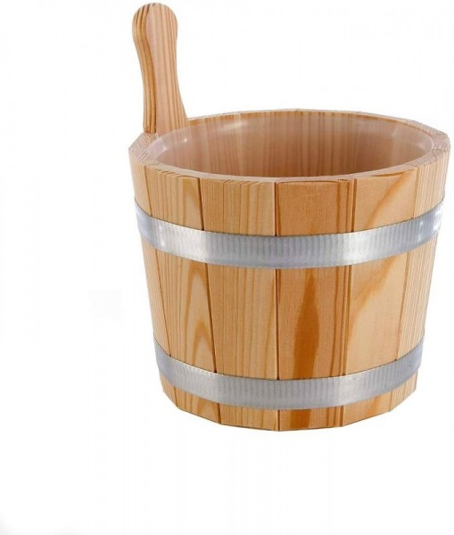 Sauna Aufgusskübel Lärche naturbelassen. Mit Kunststoff-Einsatz, 5 Liter