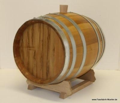 Schnapsfass-Holzfass 30 Liter aus Maulbeerbaum m. verzinkten Reifen m. Spund o.Hahn ohne Lager