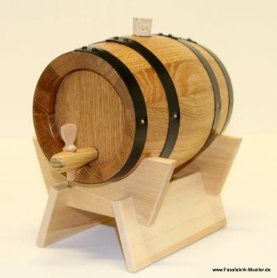 Weinfass - Holzfass 1Liter Eiche natur, mit Eisenreifen.