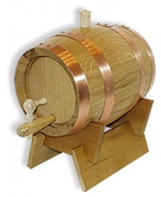 Holzfass - Schnapsfass 1 Liter , Eiche hell, mit Kupferrreifen, komplett.