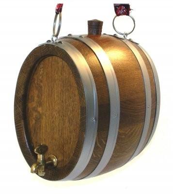 Marketenderfässchen 2 Liter Eiche rustikal oval mit Holzhahnen u.Ösen