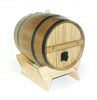 Holzfass für 5 Liter Bag in Box hell. komplett mit Lager, Deckel und U-Blech.