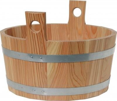 Fußwanne Lärche, innen und außen Holz naturbelassen,H 30/20 Ø 40cm 16 Liter