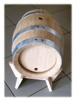 Holzfass 5 Liter 2te-Wahl , Eiche Natur, mit verzinkten Reifen,
