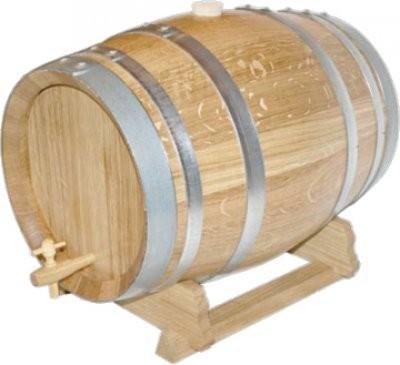 Holzfass 50 Liter aus französischer EICHE, natur mit verzinkten Reifen.