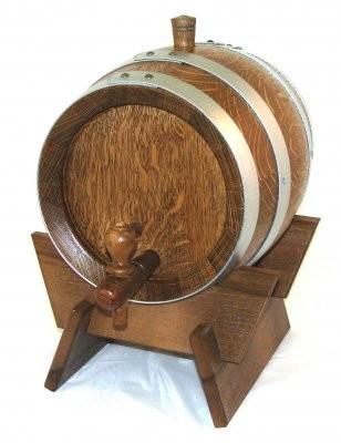 Weinfass Holzfass 2Liter Eiche rustikal mit verzinkten Fassreifen,kpl.