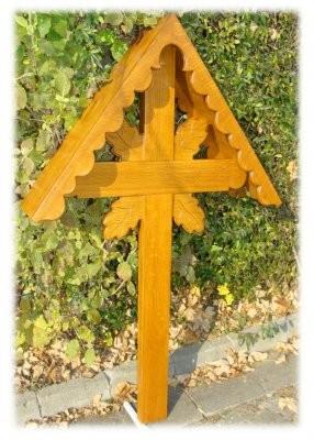 Grabkreuz - Holz Kreuz mit Dach.