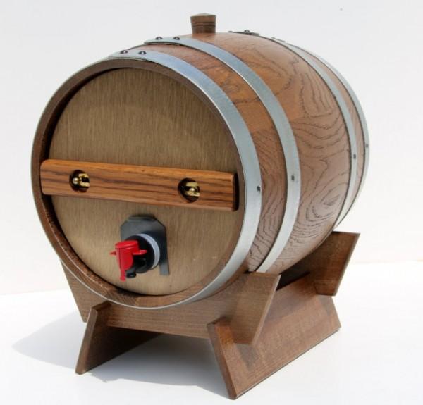 Holzfass für 5 Liter Bag in Box in Eiche rustikal kompl. mit Lager 1 Stück