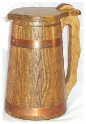 Humpen 1 Liter Eiche rustikal mit Kupferreifen antik.