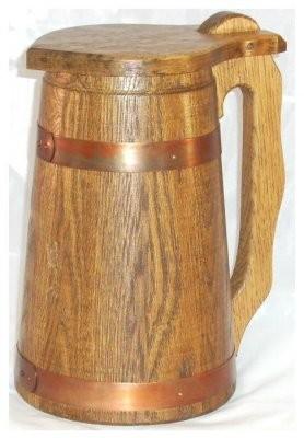 Humpen 2 Liter, Eiche rustikal mit Kupferreifen