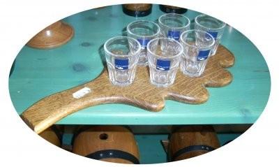 Schnapssevice Eiche natur ,6 Stück Schnapsgläser, Tablett