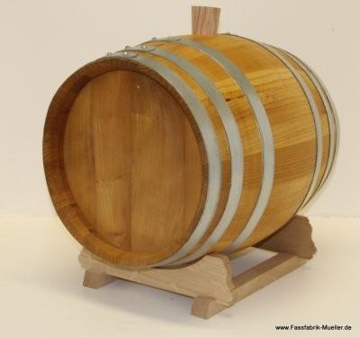 Schnapsfass-Holzfass 20 Liter aus Maulbeerbaum m. verzinkten Reifen m. Spund o.Hahn ohne Lager