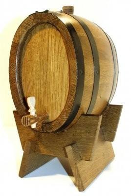 Weinfass 5 Liter Eiche rustikal oval mit Eisenreifen kpl.