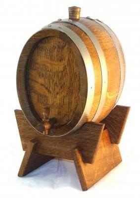 Weinfass 2 Liter Eiche rustikal oval mit Edelstahlreifen, kpl.