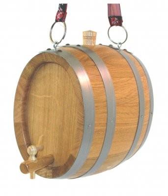 Marketenderfässchen 2 Liter Eiche natur, oval mit Messinghahnen und Ösen.