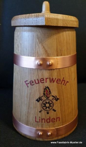 Humpen FFW - Humpen 0,5 Liter , Eiche Natur mit Kupferreifen