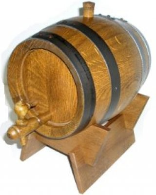 Schnapsfass 1 Liter Eiche rustikal mit geschwärzten Kupferreifen kpl.
