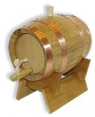 Weinfass - Holzfass 1Liter Eiche natur, mit Kupferreifen kpl.