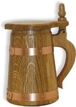 Humpen 1/2 Liter Eiche natur mit Deckel und Kupferreifen