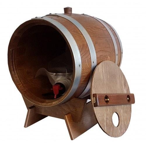 Holzfass für 10 Liter Bag in Box in Eiche rustikal kompl. mit Lager 1 Stück